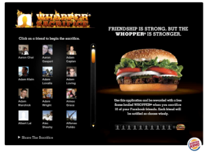whopper sacrifice facebook